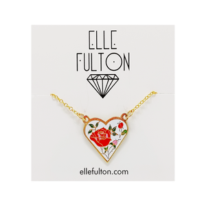 Enamel Heart Rose Necklace