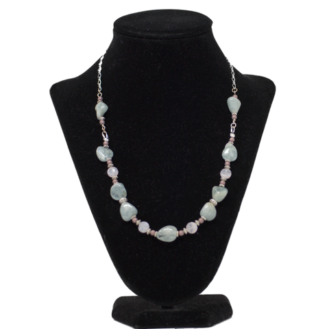 Agate with Matte Seed Bead Necklace