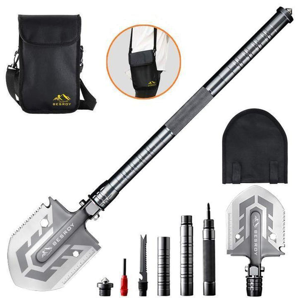 Portable Military Folding Shovel with Tactical Waist Pack & Multi-Tools
