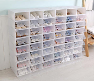 Stacking Shoe Container See-Through Plastic Organizer
