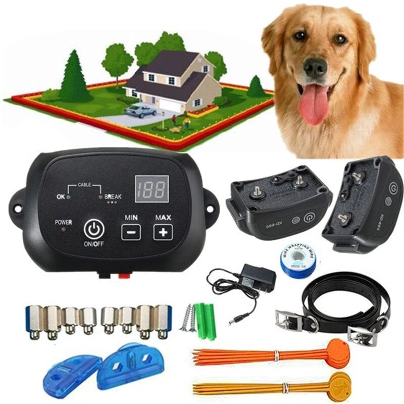 Wireless Electric Dog Fence Pet Containment System Shock Collars For 1/2/3 Dogs