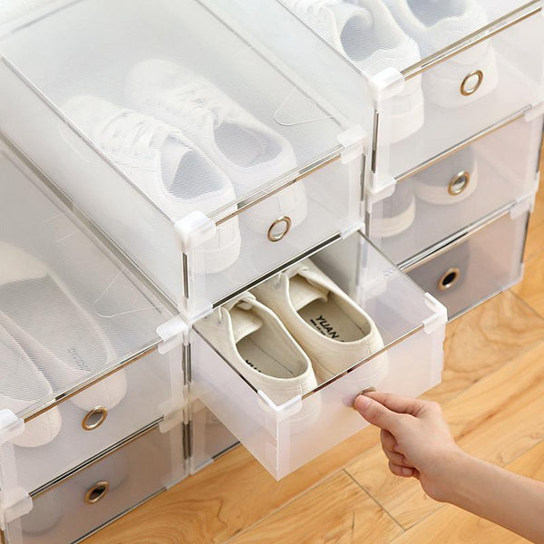 5pcs eco friendly shoe storage box case transparent plastic rectangle pp organizer thickened drawer best 2019