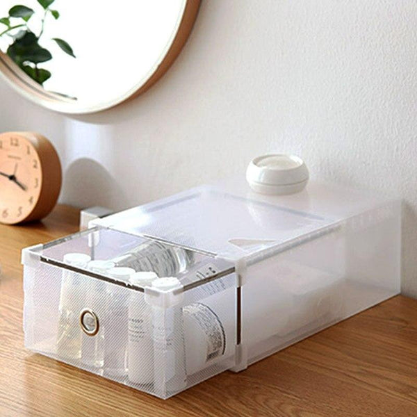 5pcs eco friendly shoe storage box case transparent plastic rectangle pp organizer thickened drawer
