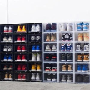 Plastic Shoe Box Rack Drop Front Storage Organizer