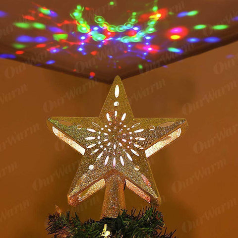 Project Lvl Online Store 200221144 Gold OurWarm 3D Glitter Star LED Christmas Tree Topper with Built-in Rotating White Snowflake Projector Laser Christmas Tree Ornament