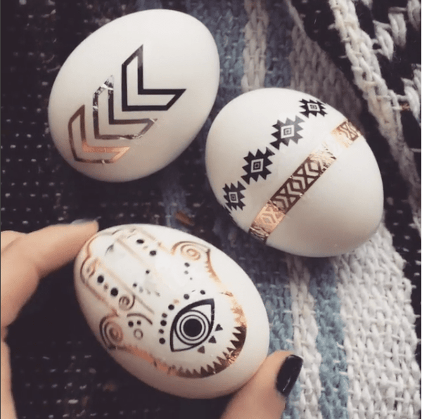 Boho Metallic Tattoo Easter Egg DIY
