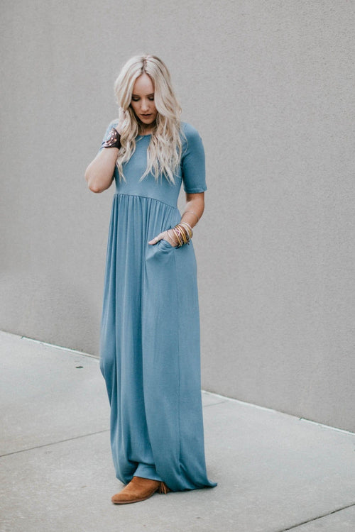 Spring's Best Maxi Dress - Titanium