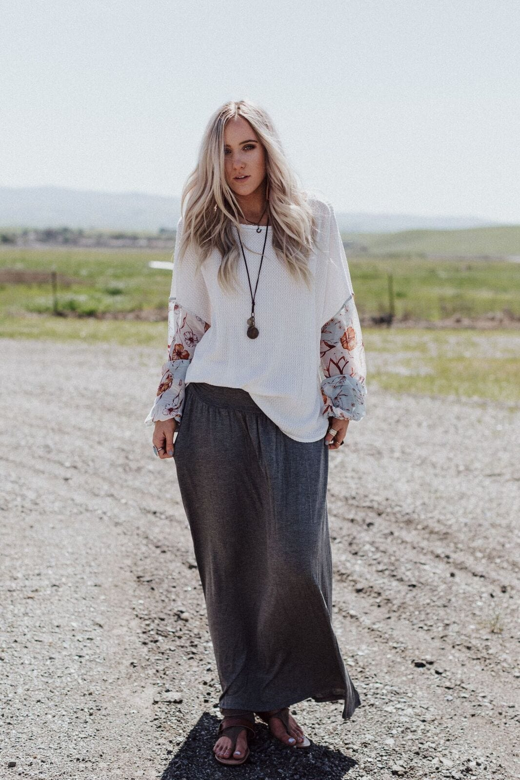 Sundown Pocket Maxi Skirt - Charcoal