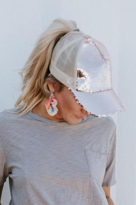 Mermaid Sequin Messy Bun Baseball Hat - Rose Gold