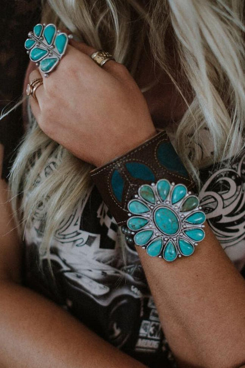 Sonic Bloom Turquoise Cuff Bracelet