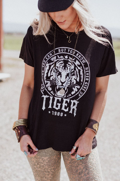 Never Give Up Tiger Graphic Tee