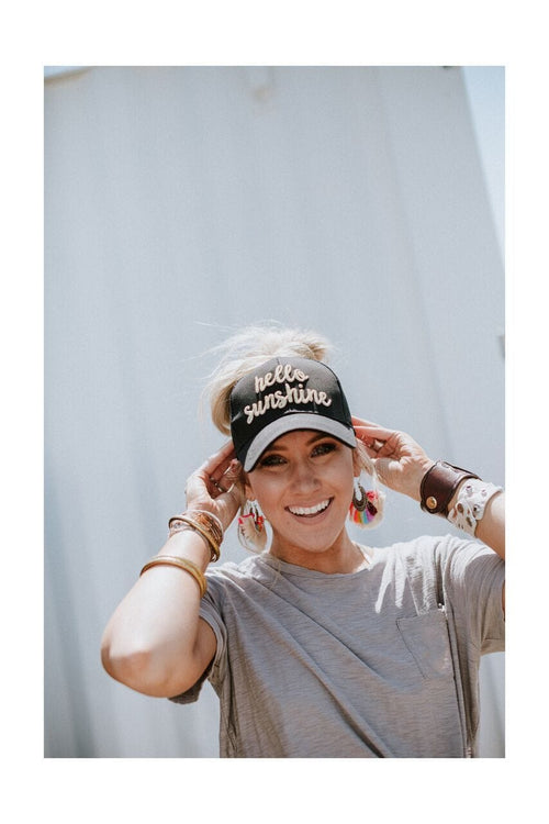 Hello Sunshine Messy Bun Baseball Hat - Black