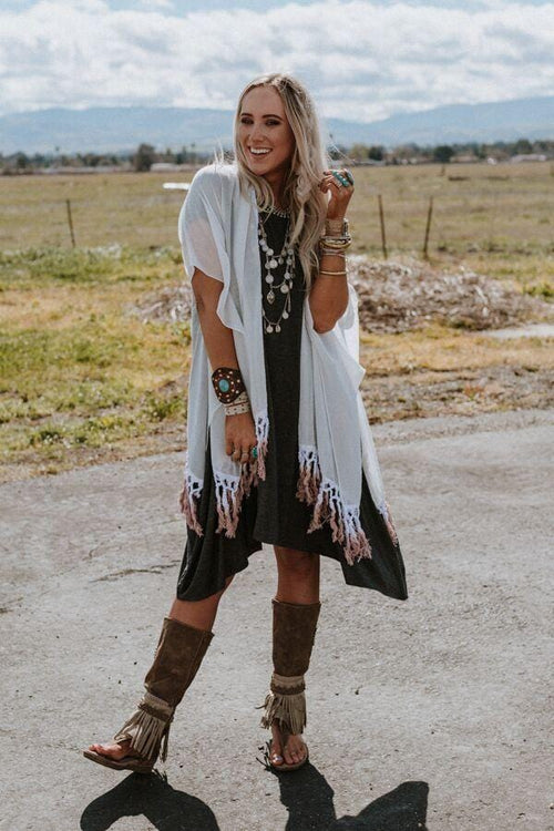 Point Breeze Fringed Kimono - Tan