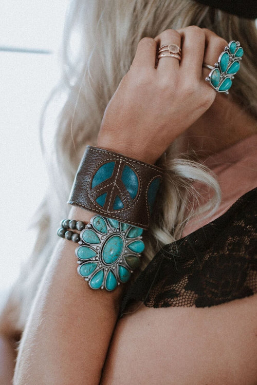 Love + Peace Wallet Cuff - Turquoise