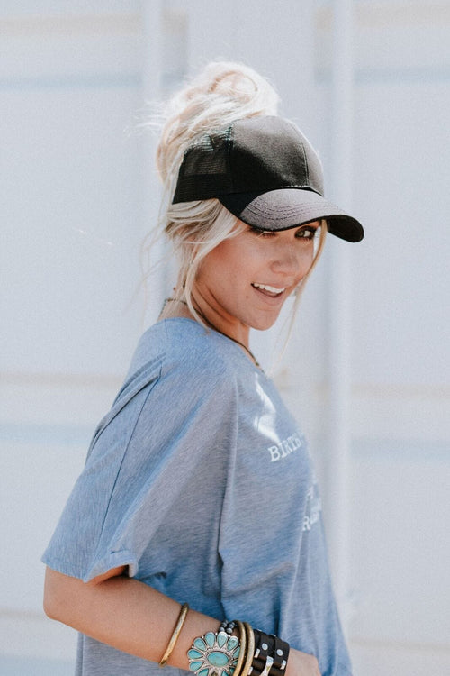Messy Bun Baseball Hat - Black Mesh