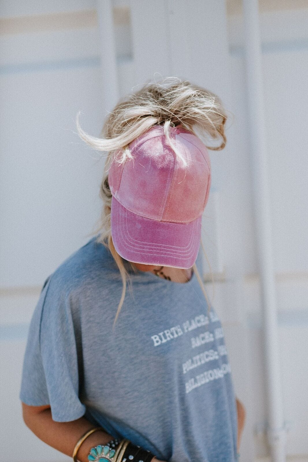 Messy Bun Baseball Cap - Rose Velvet