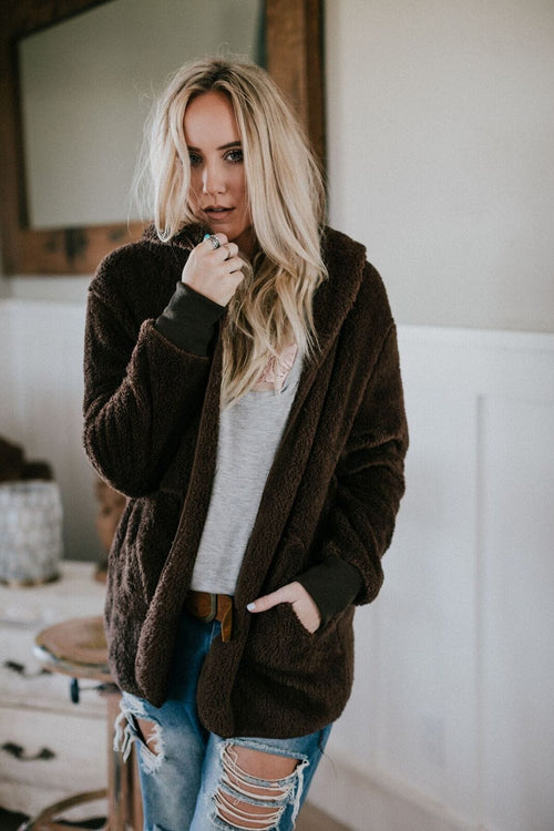Cuddled Up + Cozy Fuzzy Jacket - Mocha