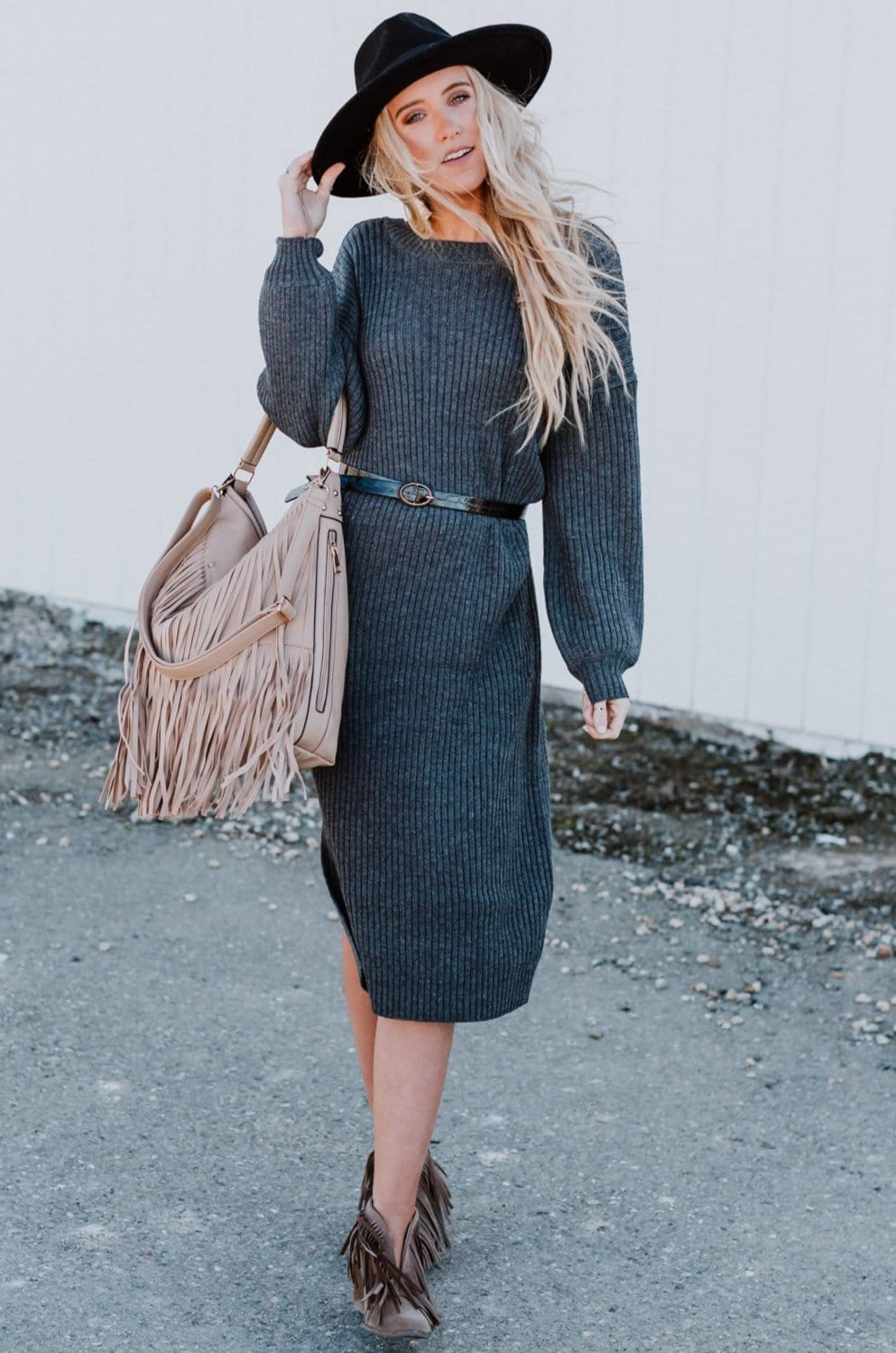 Image of Everly Sweater Dress - Charcoal