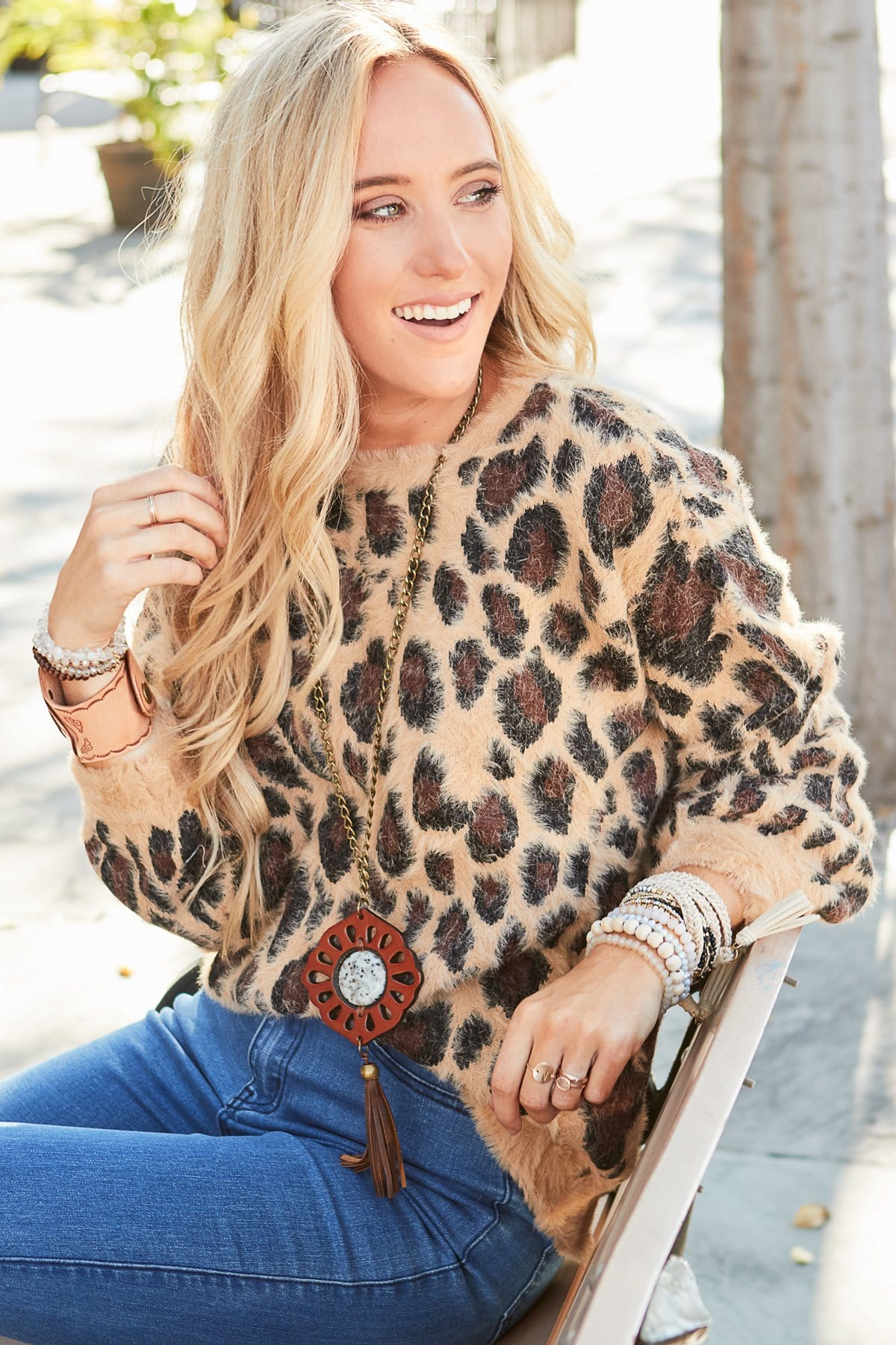 Image of Feeling Ferocious Leopard Print Pullover - Tan