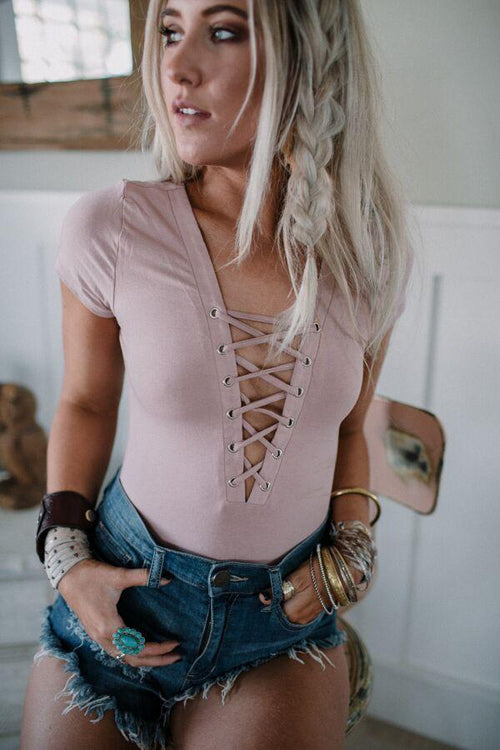 Lace Up Front Bodysuit - Mauve