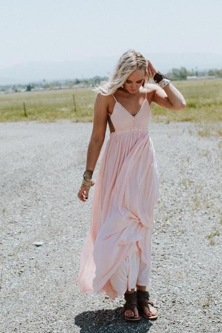 Blush Whimsy Backless Maxi Dress