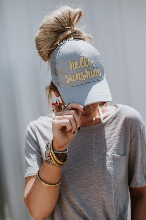 Hello Sunshine Messy Bun Baseball Hats