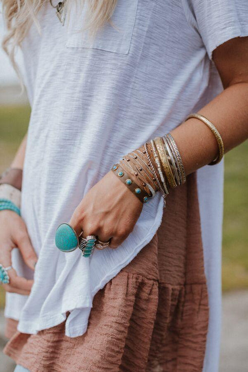 Turquoise Studded Thin Leather Cuff - Brown