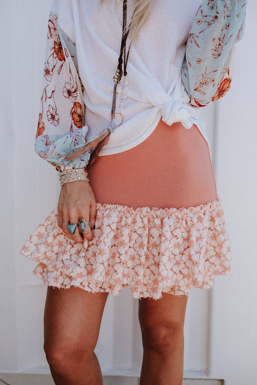 Take Me Away Lace Ruffle Hem Slip - Coral