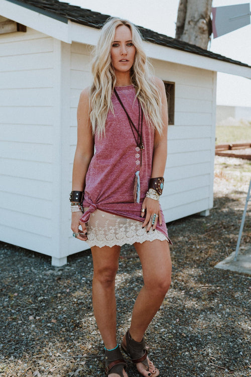 Come On Over Layering Tunic - Burgundy