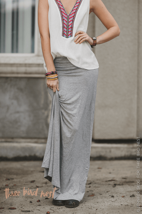 Great Lengths Light Gray Maxi Skirt-Skirts-Affordable Online Boutique | Cute + Trendy Women's Clothes - 1