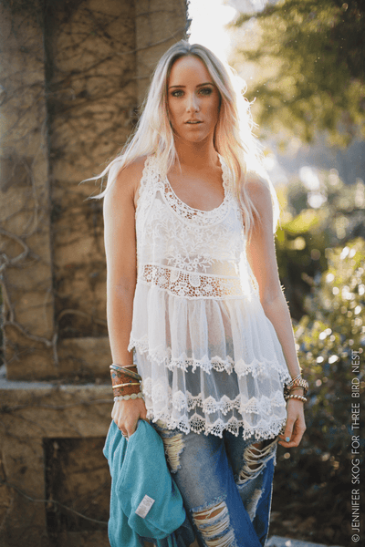 Layers Of Lace Tank In White