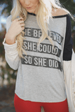 She Believed She Could So She Did Graphic Baseball Tee