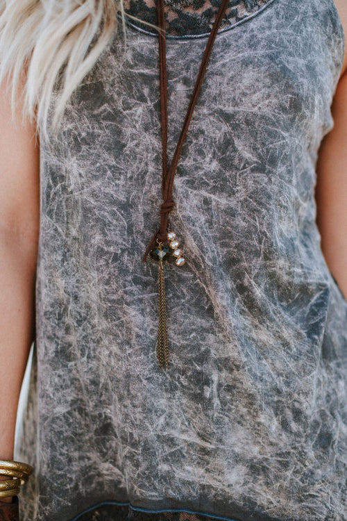 River Valley Leather + Stones Necklace - Champagne