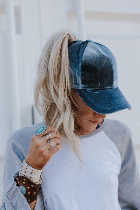 Messy Bun Baseball Cap - Denim Velvet