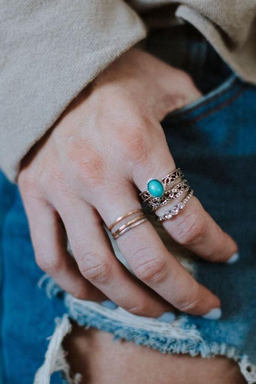 Gypsy Flair Ring Set - Turquoise