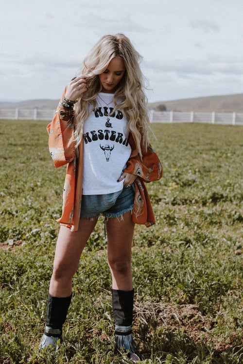 Boho kimono with western and wild t-shirt