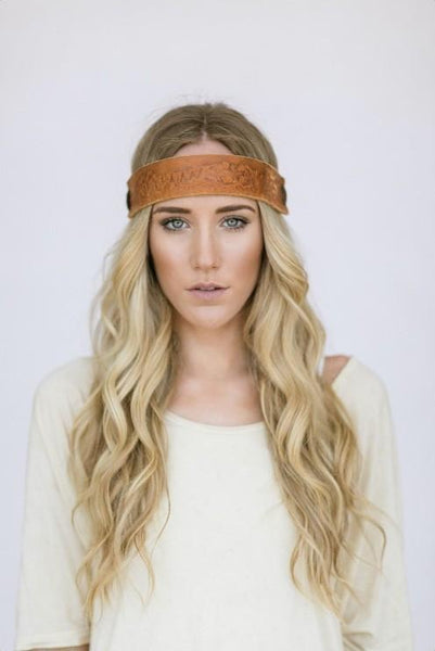 Brown Leather Tooled Headband