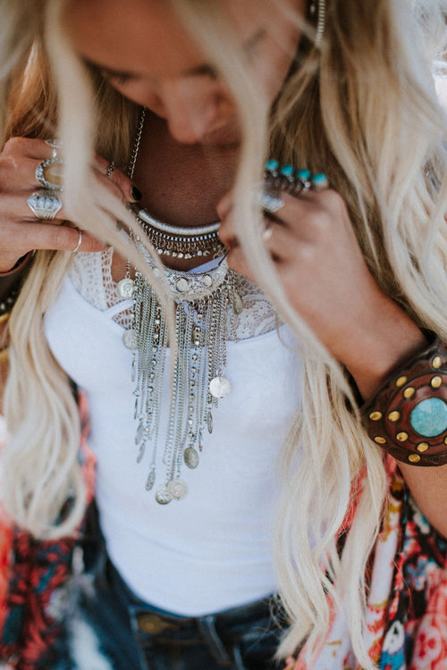 Coin and Tassel Boho Necklace
