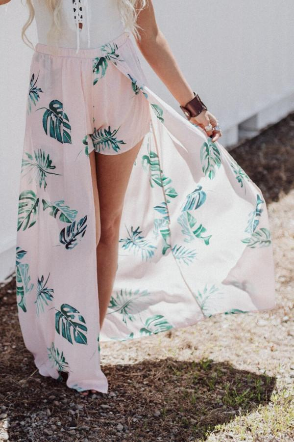 Bohemian maxi skirt with shorts