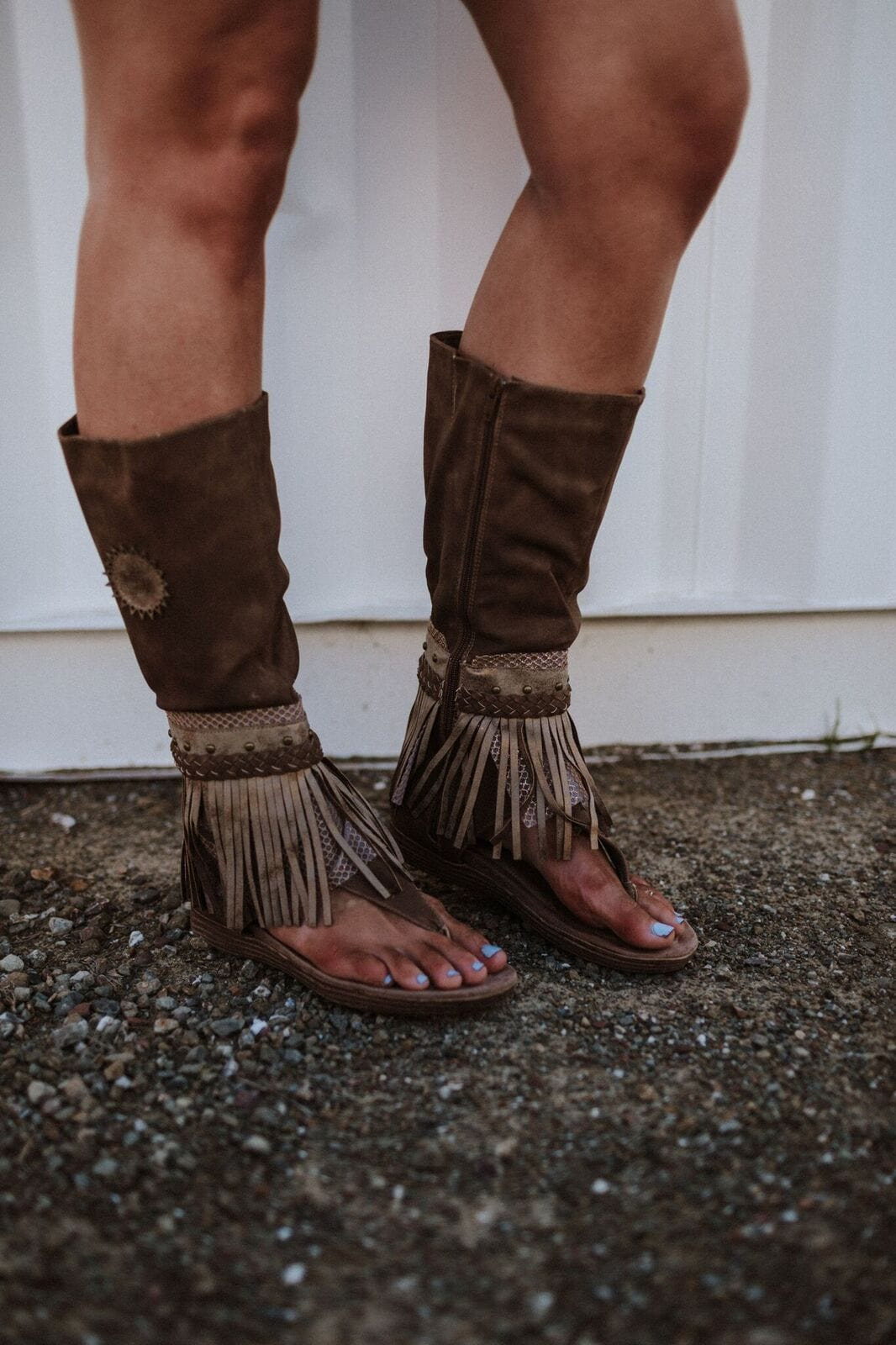 Ibiza Gladiator Fringe Boot Sandals on MOdel