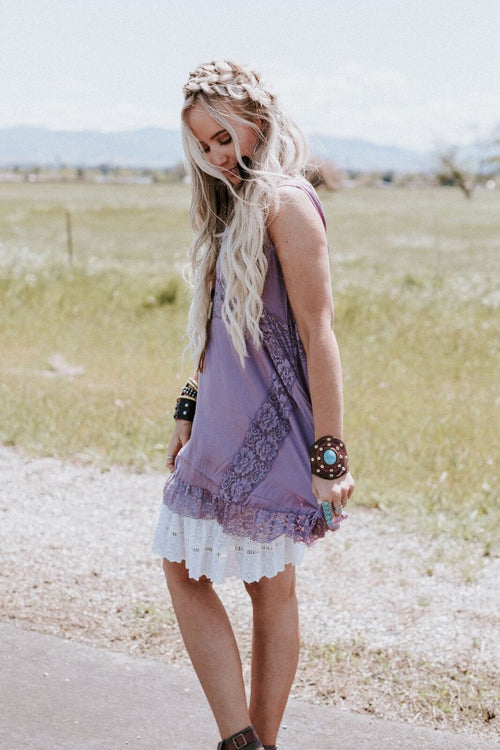 She Swings Lace Layering Top - Mauve