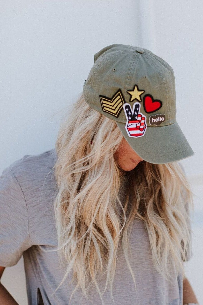 Olive Women's Baseball Cap with Patches