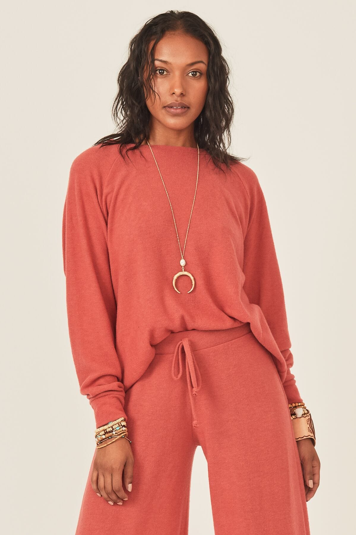 Image of Mariel Brushed Hacci Pullover - Red