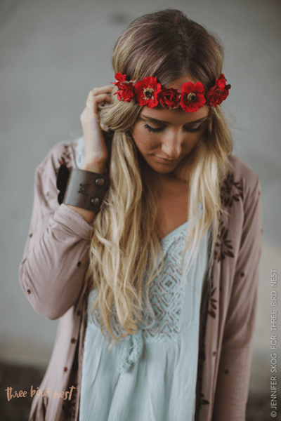 Red Roses Flower Crown Headband Bohemian Wrap for Women