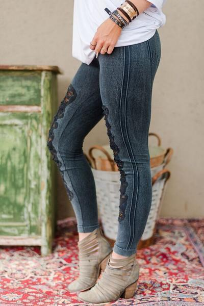 Ripped Denim Worn Jeggings