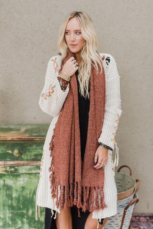 Fall in Love Oversized Scarf - Rust