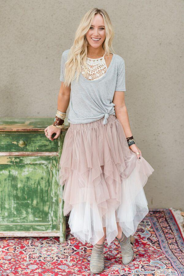 Ombre Tiered Tulle Skirt