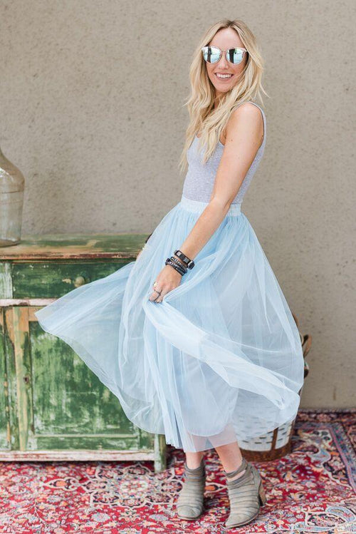 Twirling Tulle Midi Skirt