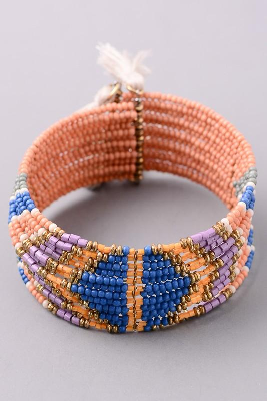 Hazy Sunset Beaded Cuff Bracelet