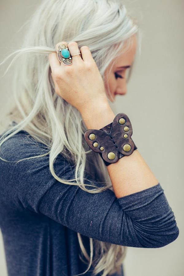Butterfly Leather Bohemian Cuff - Black